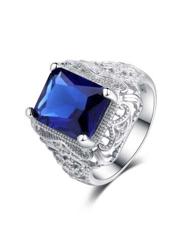Deep Blue Sapphire Stone Silver Plated